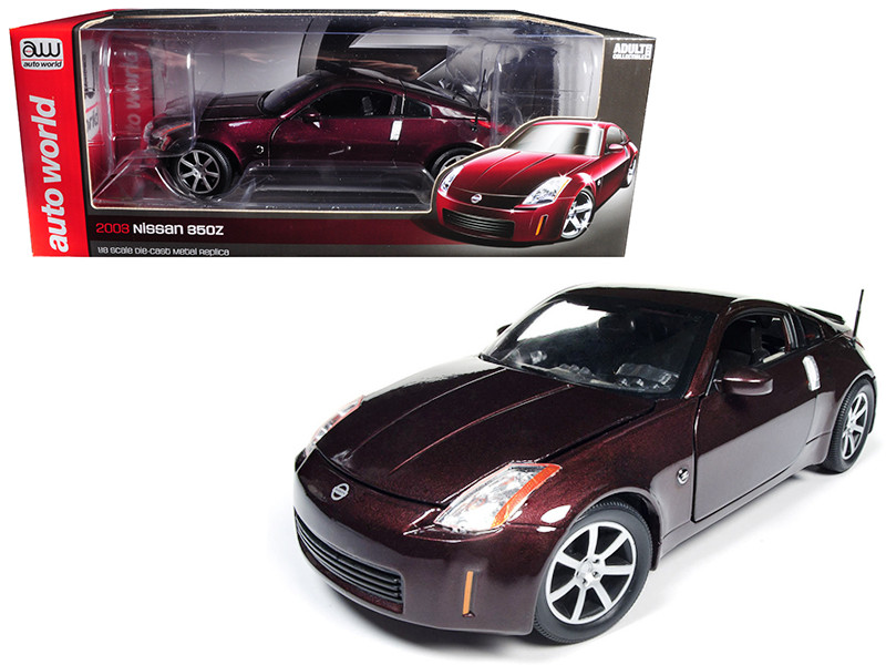 2003 Nissan 350Z Coupe Brickyard Red Metallic Limited Edition to 1002 pieces Worldwide 1/18 Diecast Model Car Autoworld AW240