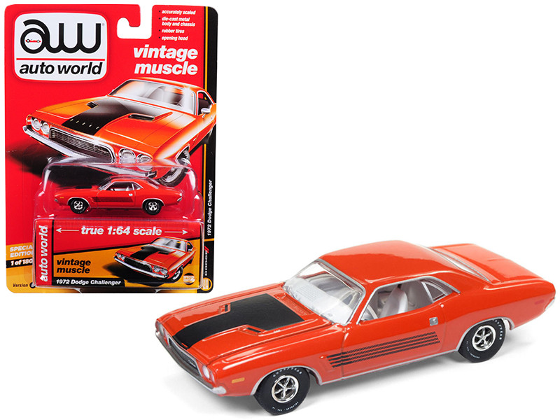 1972 Dodge Challenger Rallye Hemi Orange Auto World's Premium Limited Edition to 1800 pieces Worldwide 1/64 Diecast Model Car Autoworld AWSP003 B