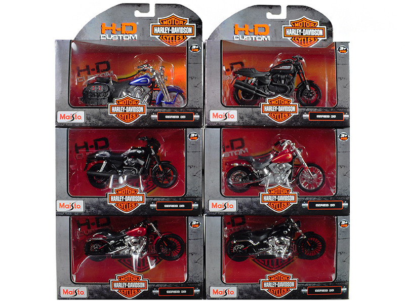 Harley Davidson Motorcycle 6pc Set Series 35 1/18 Diecast Models Maisto 31360-35