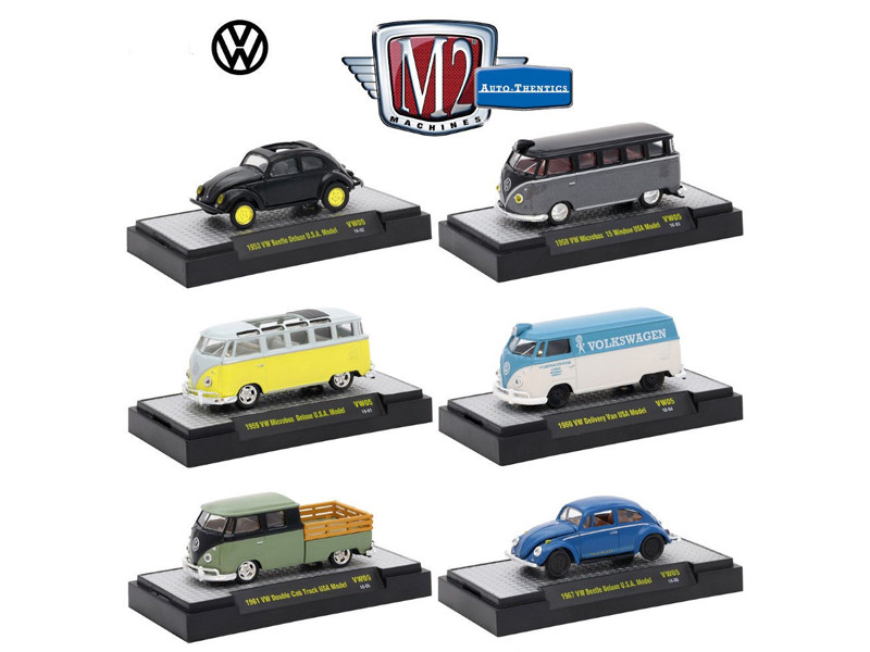 Auto Thentics Volkswagen 6 Cars Set Release 5 IN DISPLAY CASES 1/64 Diecast Model Cars M2 Machines 32500-VW05