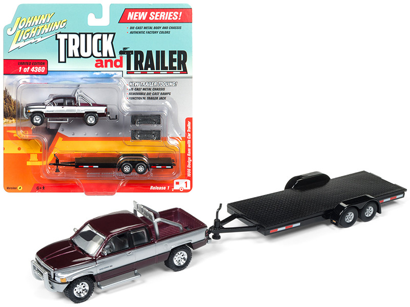 1996 Dodge Ram Burgundy and Silver with Car Trailer Limited Edition to 4360 pieces Worldwide Truck and Trailer Series 1 1/64 Diecast Model Car Johnny Lightning JLBT006 A