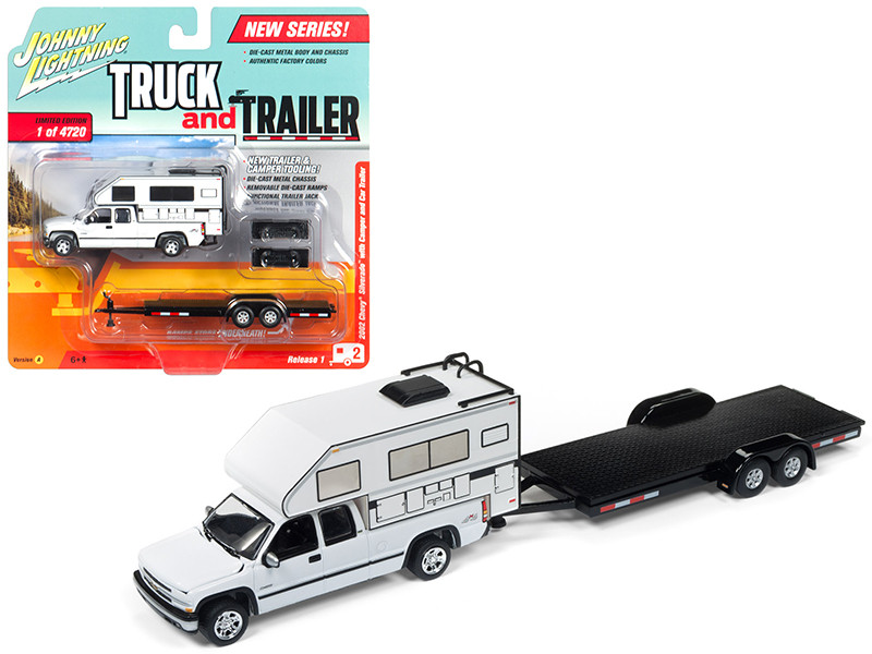 2002 Chevrolet Silverado White with Camper and Car Trailer Limited Edition to 4720 pieces Worldwide Truck and Trailer Series 1 1/64 Diecast Model Car Johnny Lightning JLBT006 A