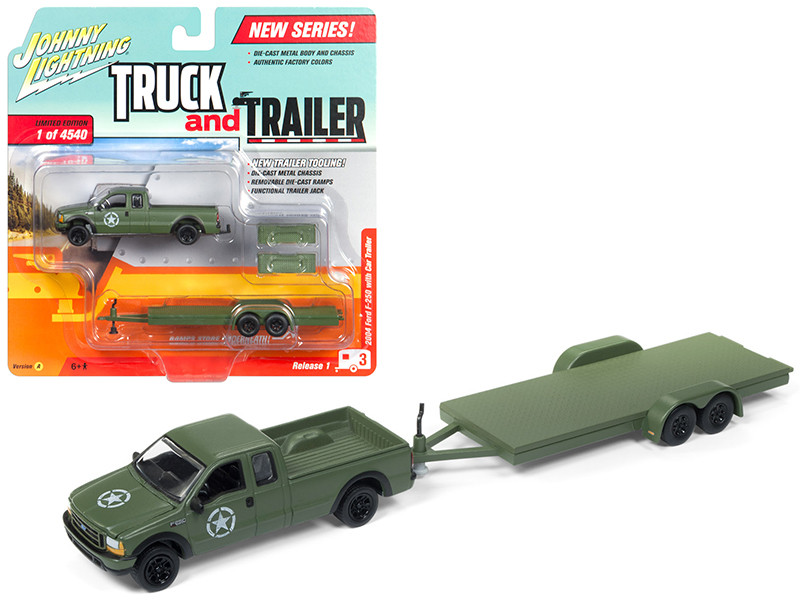 2004 Ford F-250 Army Green with Car Trailer Limited Edition to 4540 pieces Worldwide Truck and Trailer Series 1 1/64 Diecast Model Car Johnny Lightning JLBT006 A