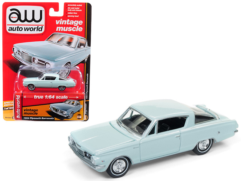 1964 Plymouth Barracuda Light Turquoise Auto World's Premium Limited Edition to 1800 pieces Worldwide 1/64 Diecast Model Car Autoworld AWSP001 B