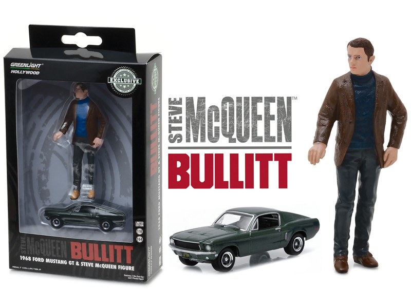 1968 Ford Mustang GT Fastback Green 1/64 with 1/18 Steve Mcqueen Figure from Bullitt Movie Hobby Exclusive Diecast Model Car Greenlight 29931