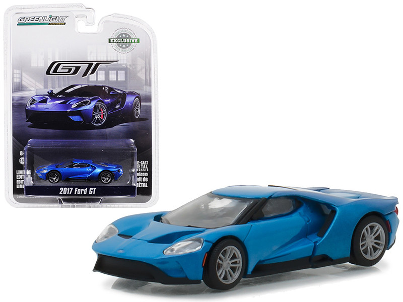 2017 Ford GT Blue Hobby Exclusive 1/64 Diecast Model Car Greenlight 29933