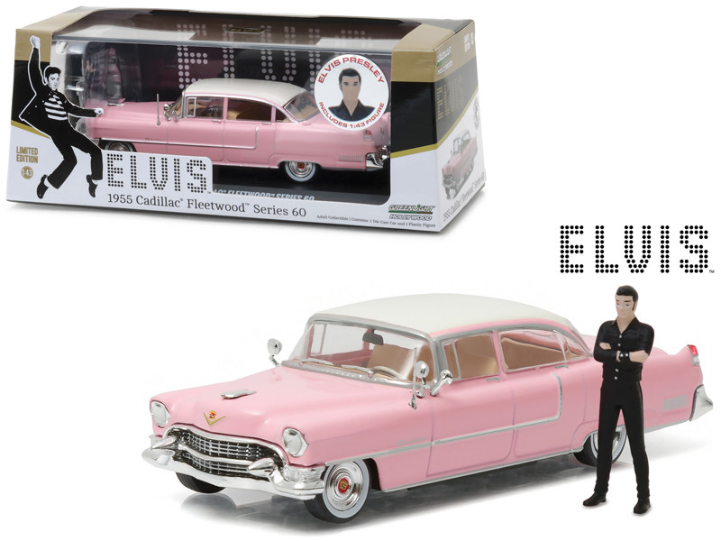 Elvis Presley's 1955 Pink Cadillac Fleetwood Series 60 with Elvis Presley Figurine 1/43 Diecast Model Car Greenlight 86436