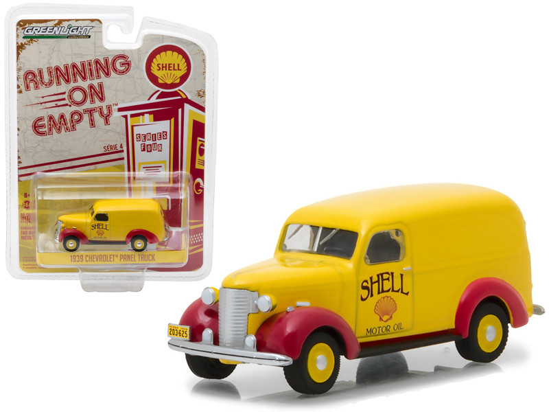 1939 Chevrolet Panel Truck Shell Oil Running on Empty Series 4 1/64 Diecast Model Car Greenlight 41040 A