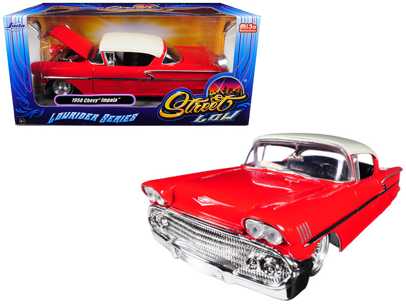 1958 Chevrolet Impala Red Lowrider Series Street Low 1/24 Diecast Model Car Jada 98920