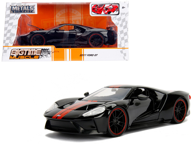 2017 Ford GT Black with Red Stripes 1/24 Diecast Model Car Jada 99389