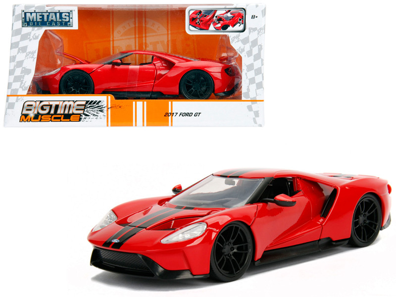 2017 Ford GT Red with Black Stripes 1/24 Diecast Model Car Jada 99391