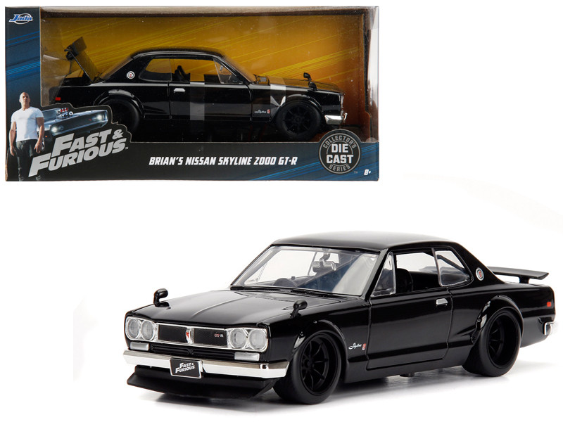 Brian's Nissan Skyline 2000 GT-R Black from The Fast and the Furious Movie 1/24 Diecast Model Car Jada 99686