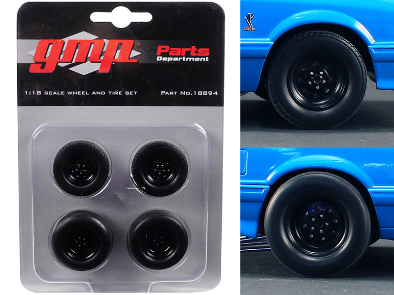 Wheels and Tires Set of 4 from 1993 Ford Mustang Cobra 1320 Drag Kings King Snake 1/18 GMP 18894