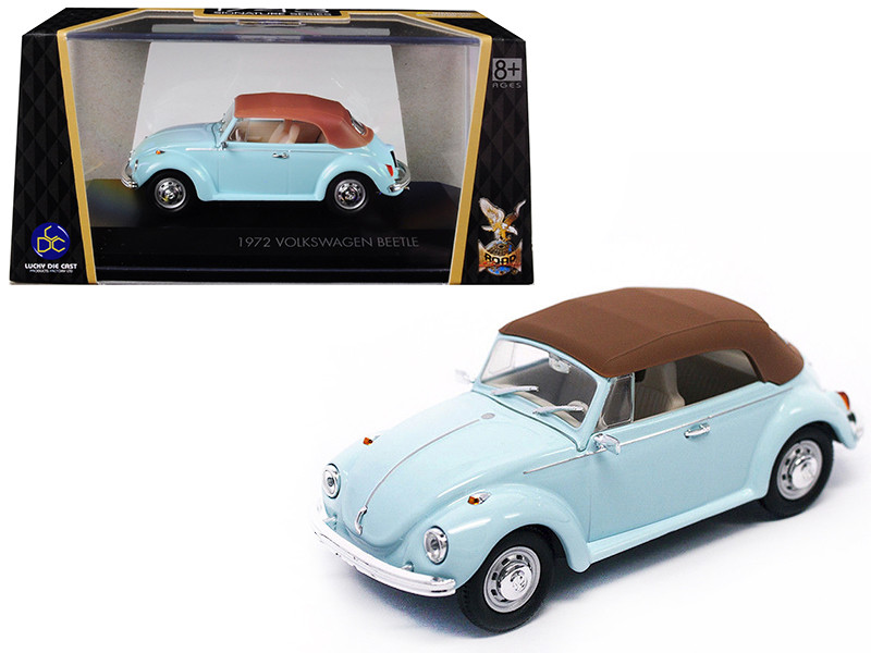 1972 Volkswagen Beetle Closed Top Light Blue 1/43 Diecast Model Car Road Signature 43221