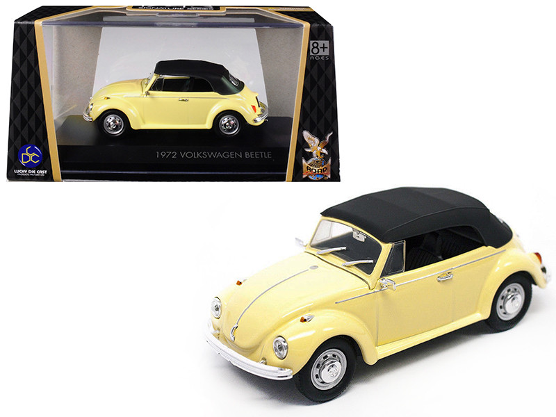 1972 Volkswagen Beetle Closed Top Yellow 1/43 Diecast Model Car Road Signature 43221