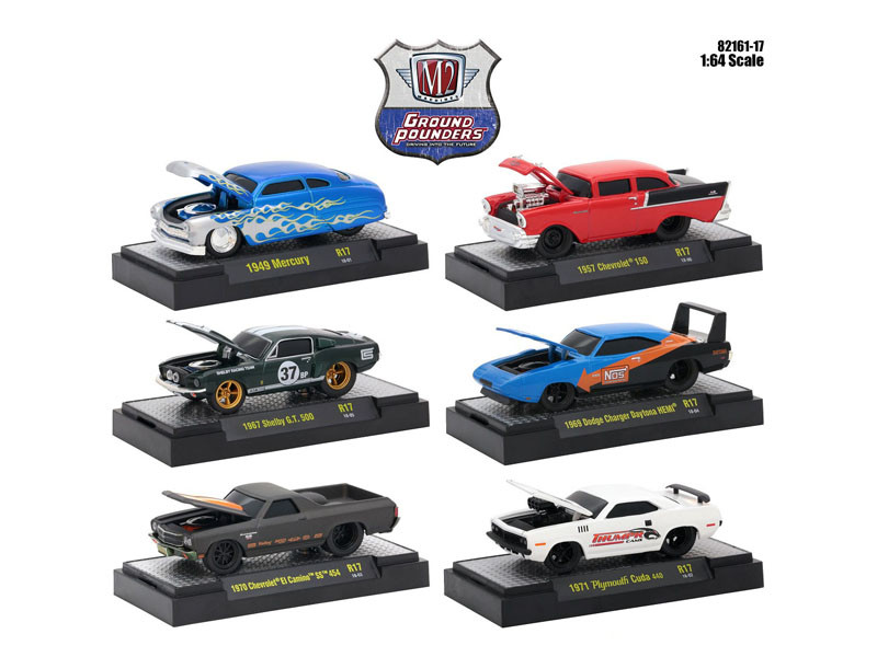 Ground Pounders 6 Cars Set Release 17 IN DISPLAY CASES 1/64 Diecast Model Cars M2 Machines 82161-17