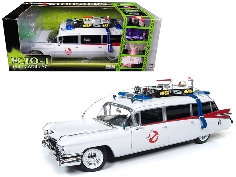 1959 Cadillac Ambulance Ecto-1 from Ghostbusters 1 Movie 1/18 Diecast Model Car Autoworld AWSS118