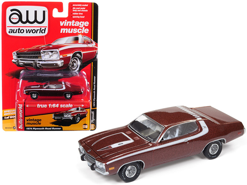 1974 Plymouth Road Runner Burnished Red Poly with White Stripes Auto World's Premium Limited Edition to 1800 pieces Worldwide 1/64 Diecast Model Car Autoworld AWSP002 B