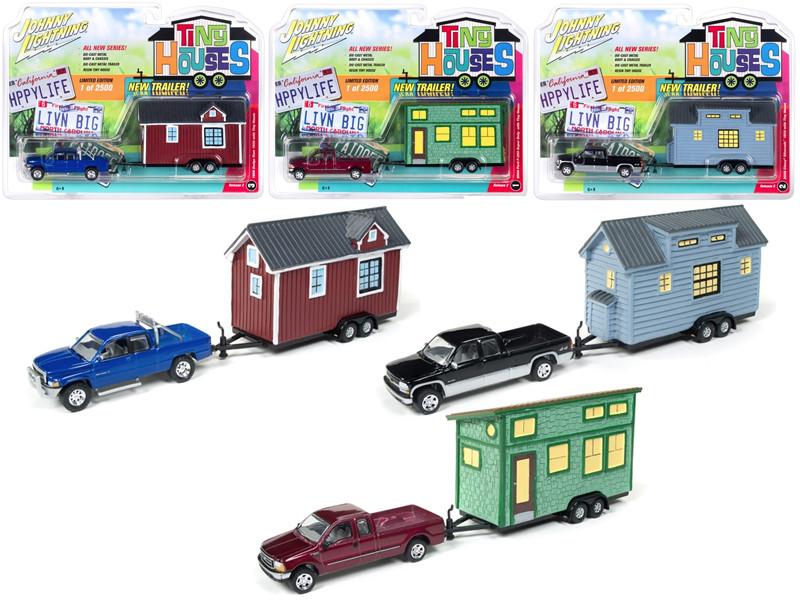 Tiny Houses Set of 3 Trucks 1/64 Diecast Model Cars Johnny Lightning JLTH002