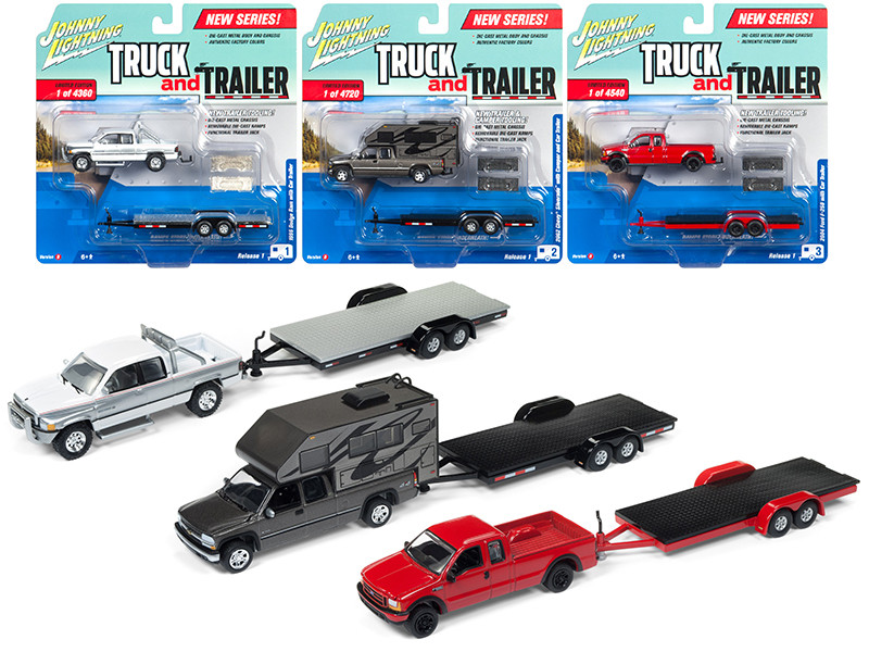 Truck and Trailer Series 1 Set of 3 Trucks, Release B Limited Edition 1/64 Diecast Model Cars Johnny Lightning JLBT006 B