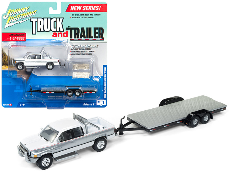 1996 Dodge Ram White and Silver with Car Trailer Limited Edition to 4360 pieces Worldwide Truck and Trailer Series 1 1/64 Diecast Model Car Johnny Lightning JLBT006 B