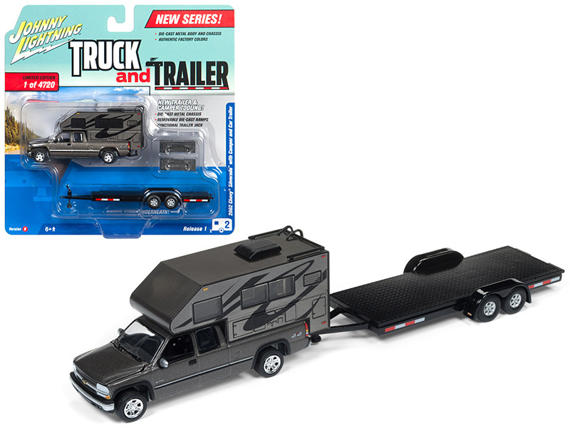 2002 Chevrolet Silverado Gunmetal Metallic with Camper and Car Trailer Limited Edition to 4720 pieces Worldwide Truck and Trailer Series 1 1/64 Diecast Model Car Johnny Lightning JLBT006 B