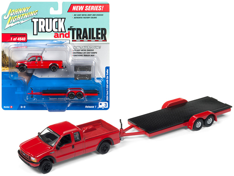 2004 Ford F-250 Red with Car Trailer Limited Edition to 4540 pieces Worldwide Truck and Trailer Series 1 1/64 Diecast Model Car Johnny Lightning JLBT006 B