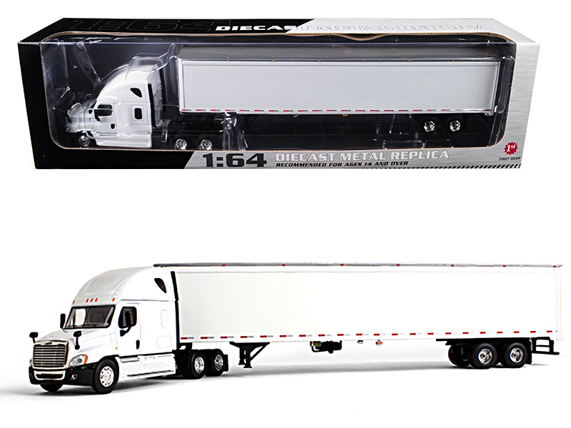 Freightliner Cascadia Sleeper White with 53 Trailer 1/64 Diecast Model First Gear 60-0382