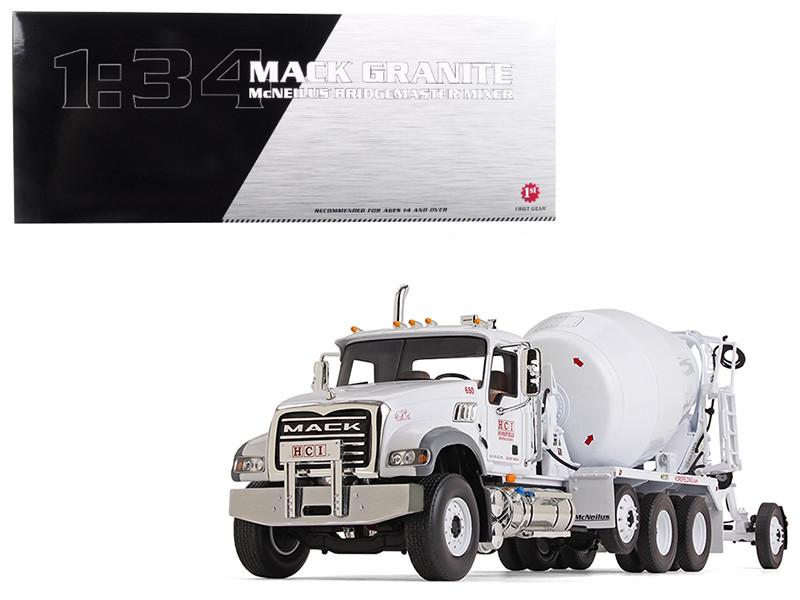 Mack Granite with McNeilus Bridgemaster Concrete Mixer White Horsfield Construction HCI 1/34 Diecast Model First Gear 10-4116