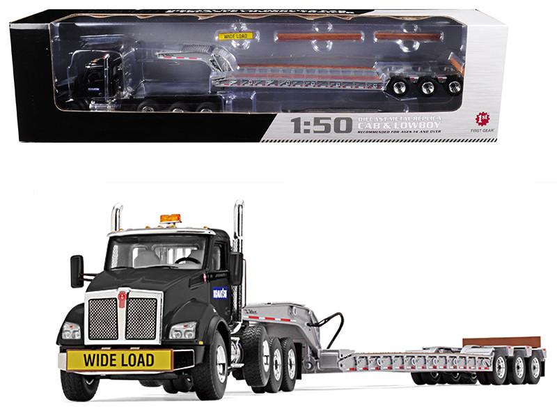 Komatsu Kenworth T880 Tri Axle Lowboy Trailer Black Silver 1/50 Diecast Model First Gear 50-3391 A