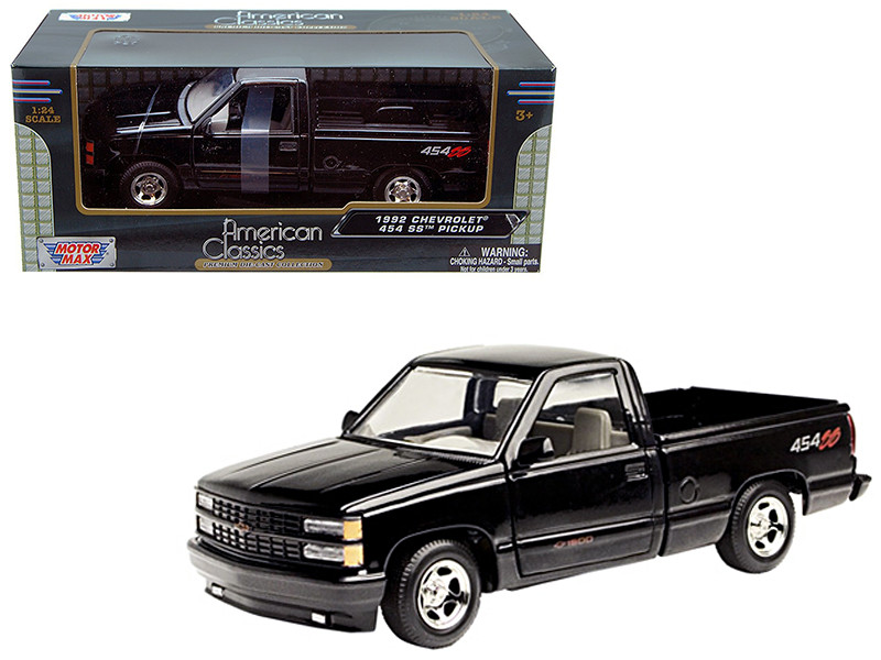 1992 Chevrolet SS 454 Pickup Truck Black 1/24 Diecast Model Motormax 73203