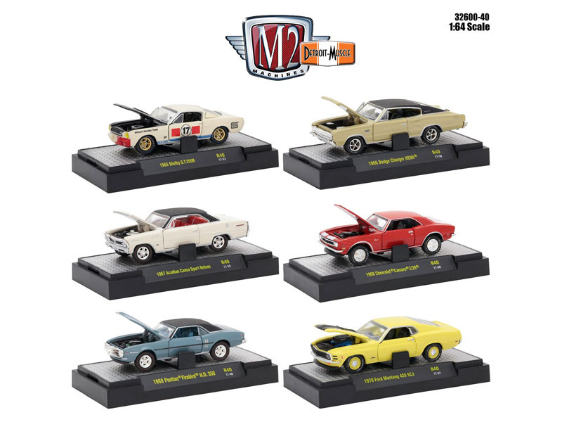 Detroit Muscle 6 Cars Set Release 40 IN DISPLAY CASES 1/64 Diecast Model Cars M2 Machines 32600-40