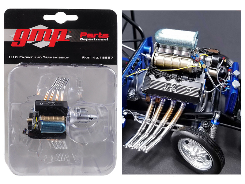 Ohio George's 1967 Ford Mustang 427 Blown SOHC Gasser Engine and Transmission Replica 1/18 GMP 18887