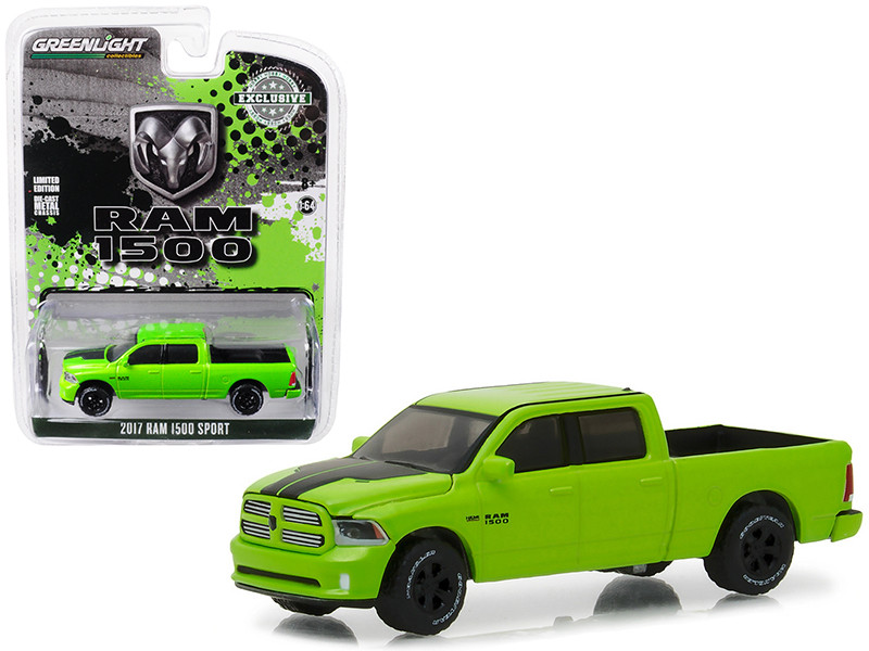 2017 Dodge Ram 1500 Sport Pickup Truck Sublime Green Pearl Coat Special Edition Hobby Exclusive 1/64 Diecast Model Greenlight 29927