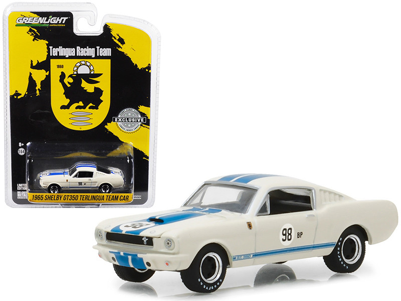 1965 Shelby GT350 White with Blue Stripes Terlingua Team Car #98 BP Hobby Exclusive 1/64 Diecast Model Car by Greenlight 29918