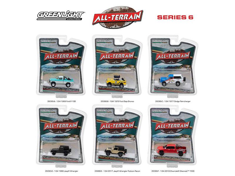 All Terrain Series 6 6pc Diecast Car Set 1/64 Diecast Models Greenlight 35090