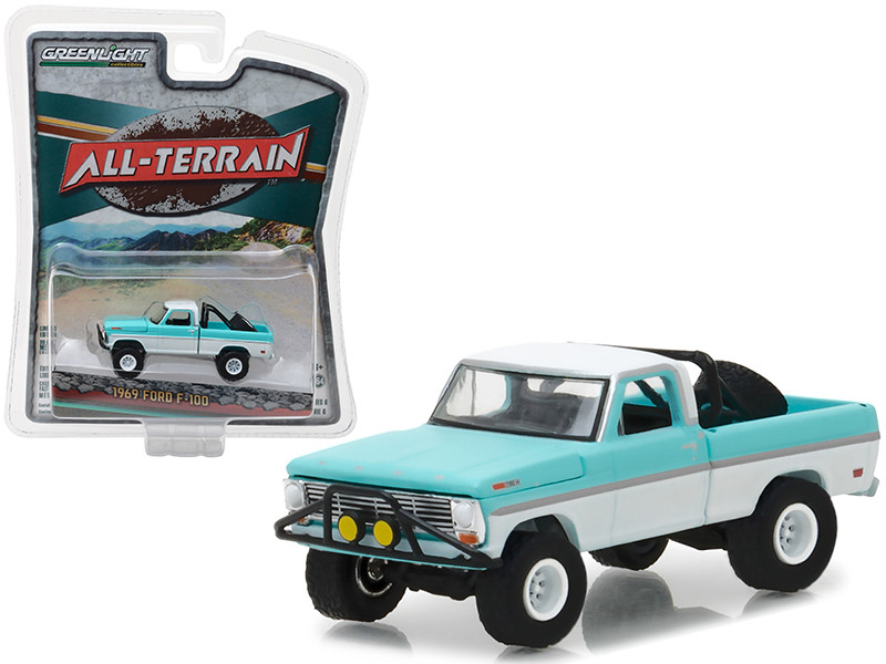 1969 Ford F-100 Turquoise White Pickup Truck All Terrain Series 6 1/64 Diecast Model Car Greenlight 35090 A