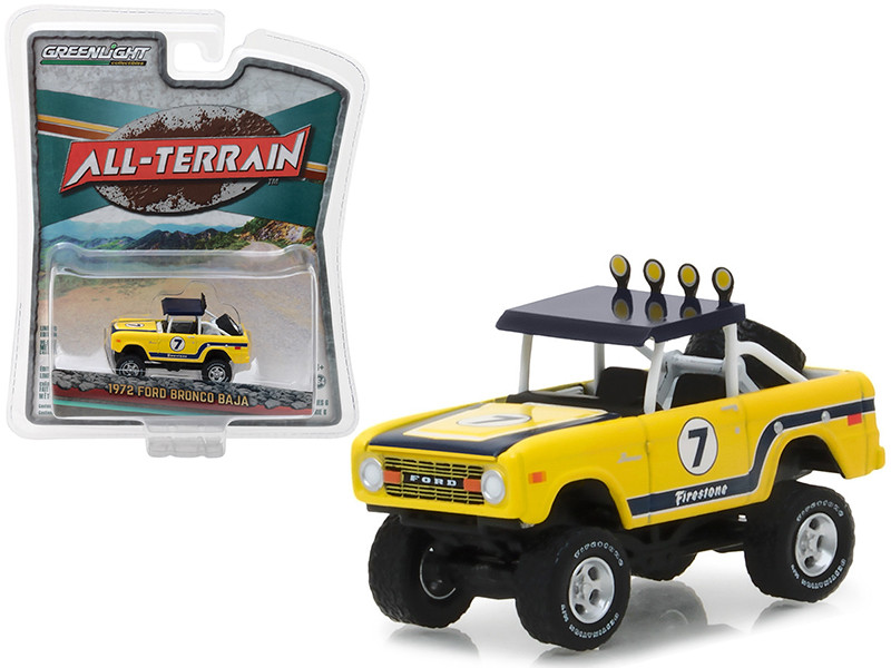 1972 Ford Bronco Baja Yellow All Terrain Series 6 1/64 Diecast Model Car Greenlight 35090 B