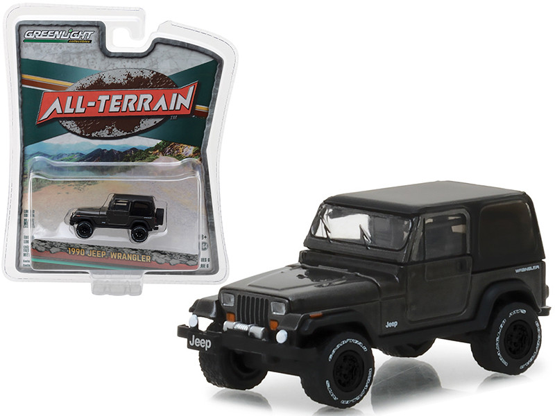 1990 Jeep Wrangler Dark Grey All Terrain Series 6 1/64 Diecast Model Car Greenlight 35090 D