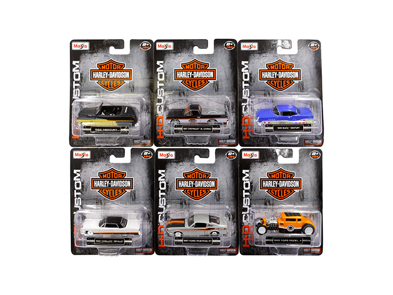 Harley Davidson Assortment Wave 2 6 Cars Set 1/64 Diecast Model Cars Maisto 15380-W2