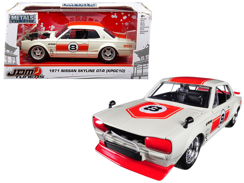 1971 Nissan Skyline GT-R #8 Red Cream KPGC10 JDM Tuners 1/24 Diecast Model Car Jada 30003