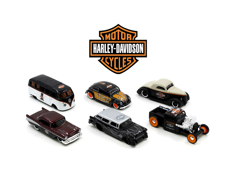 Harley Davidson Assortment Wave 1 6 Cars Set 1/64 Diecast Model Cars Maisto 15380-W1