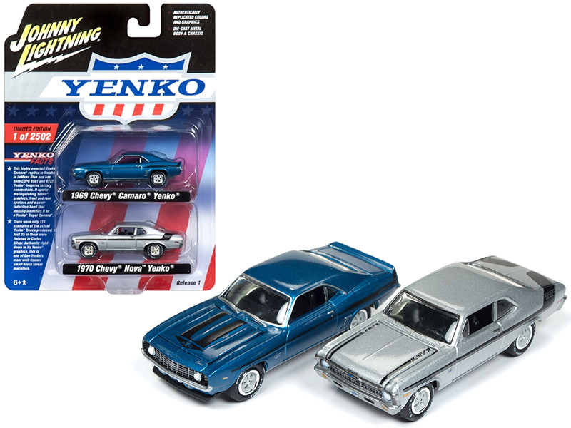 1969 Camaro and 1970 Nova Yenko Set of 2 Limited Edition to 2502 pieces Worldwide 1/64 Diecast Model Cars Johnny Lightning JLPK002