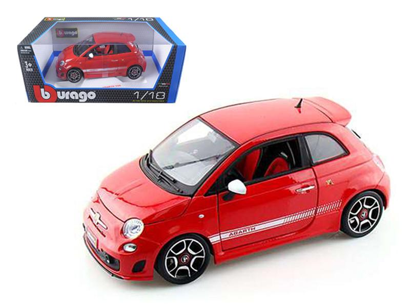 2008 Fiat Abarth 500 Red 1/18 Diecast Model Car by Bburago