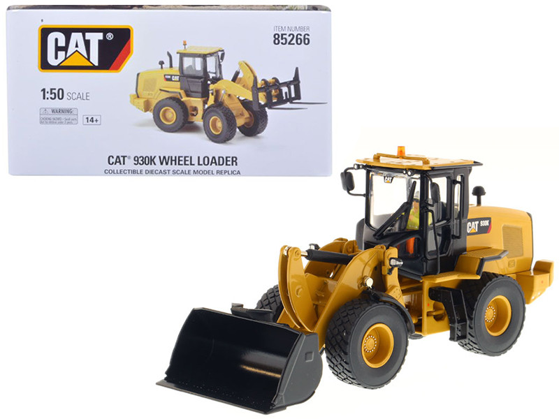 CAT Caterpillar 930K Wheel Loader with Interchangeable Work Tools Bucket and Fork and Operator High Line Series 1/50 Diecast Model Diecast Masters 85266