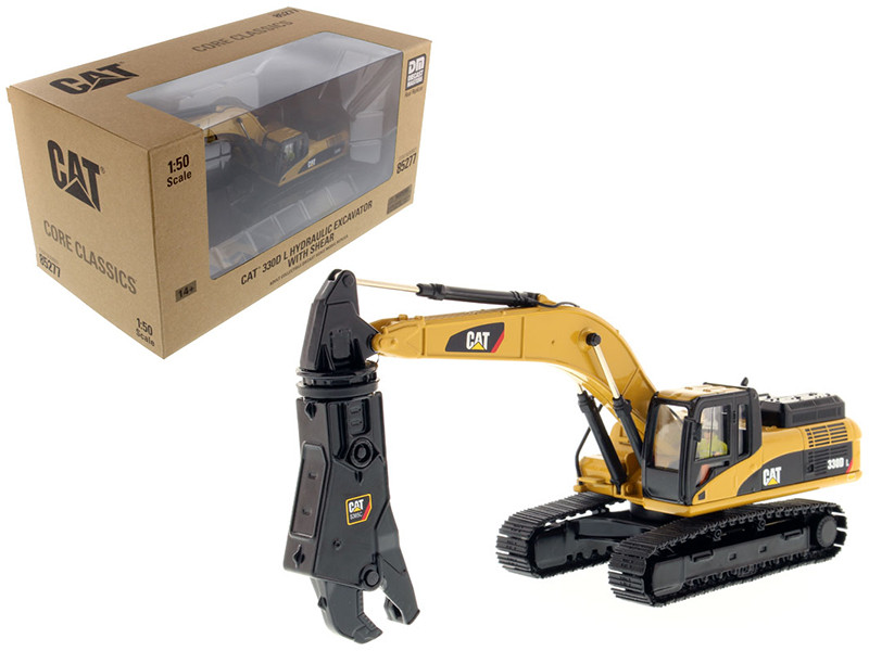 CAT Caterpillar 330D L Hydraulic Excavator with Shear Core Classics Series with Operator 1/50 Diecast Model Diecast Masters 85277