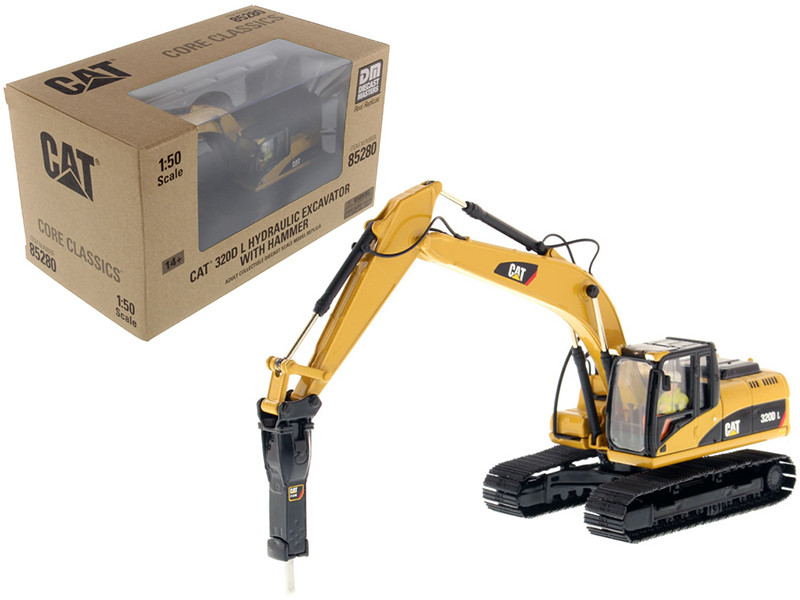 CAT Caterpillar 330D L Hydraulic Excavator with Hammer Core Classics Series with Operator 1/50 Diecast Model Diecast Masters 85280