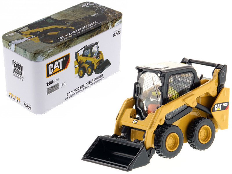 CAT Caterpillar 242D Compact Skid Steer Loader with Operator and Tools High Line Series 1/50 Diecast Model Diecast Masters 85525