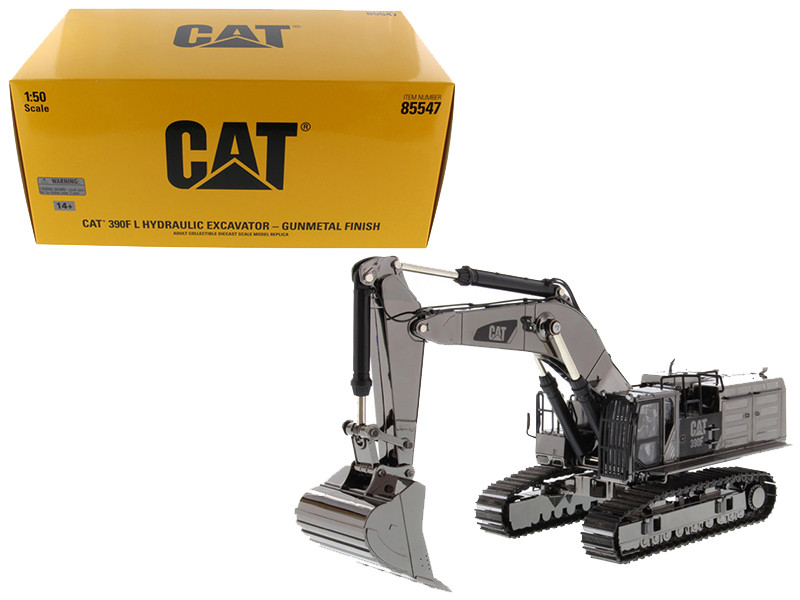 CAT Caterpillar 390F L Hydraulic Tracked Excavator Gunmetal Commemorative Series 1/50 Diecast Model Diecast Masters 85547