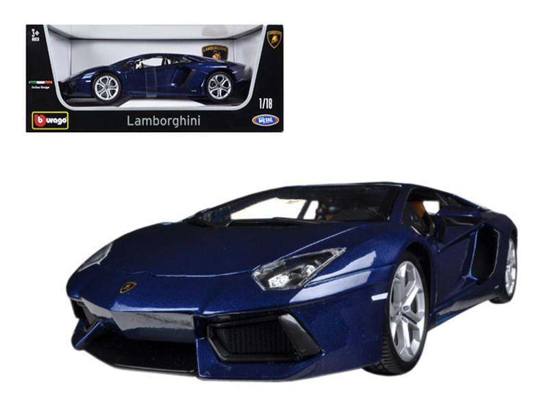 2012 Lamborghini Aventador LP700-4 Blue 1/18 Diecast Car Model by Bburago